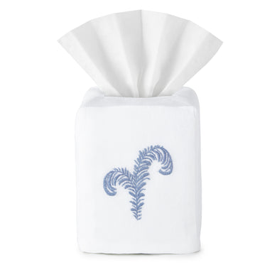 Egret Feather Tissue Box Cover - Loro Lino Fine Linens
