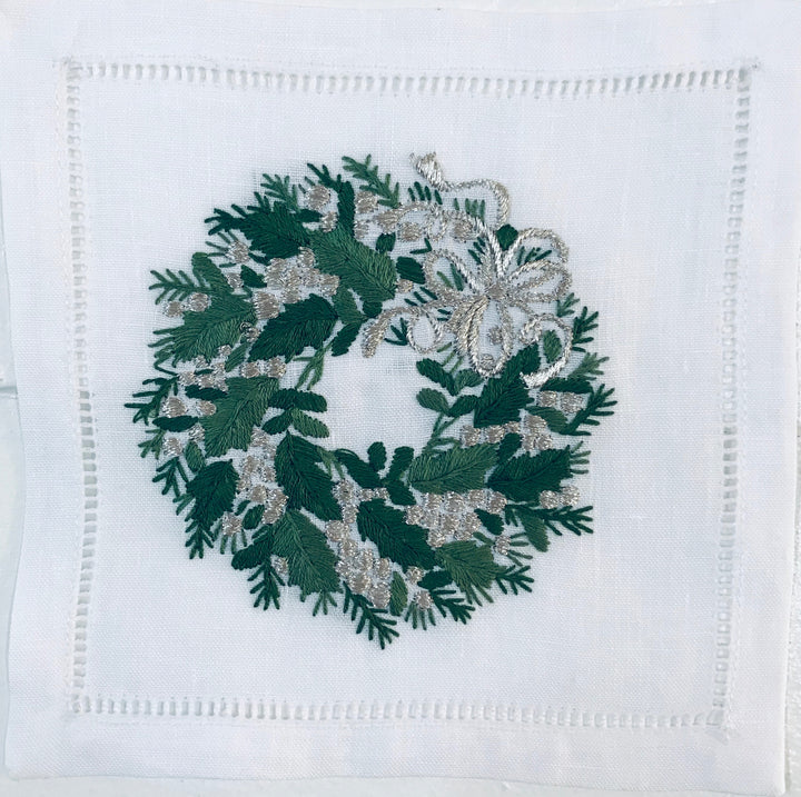 Evergreen Wreath Silver Ribbon Cocktail 6x6 (Set 4) - Loro Lino