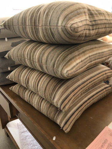 Flagler Stripe Loden Green Custom Pillow - Loro Lino