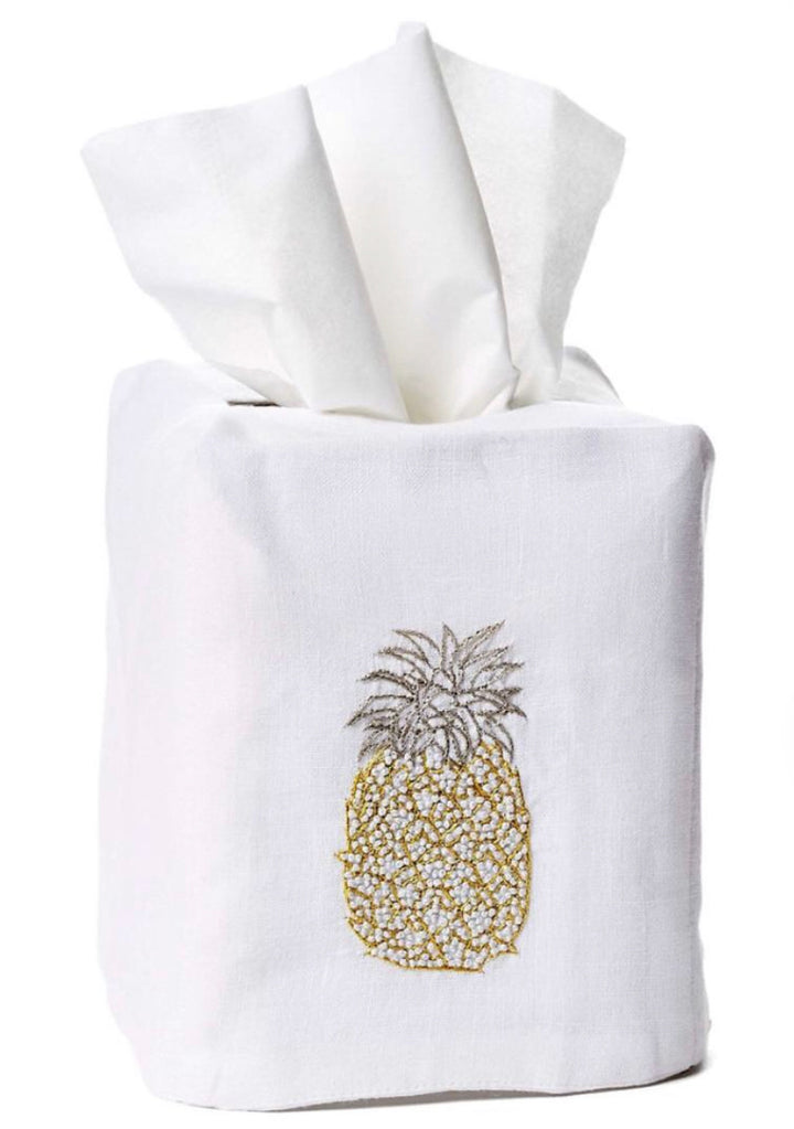Pineapple Tissue Box Cover - Loro Lino Fine Linens