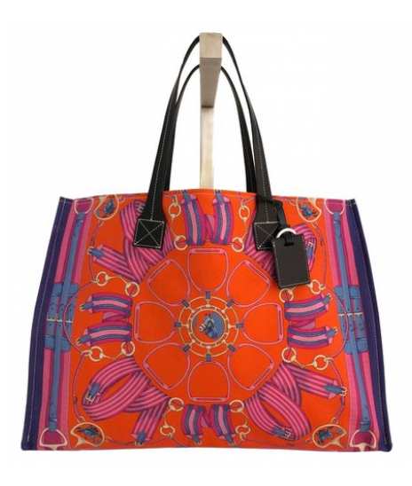 Fabulous Tote Wellington in Navy and Orange - Loro Lino Fine Linens