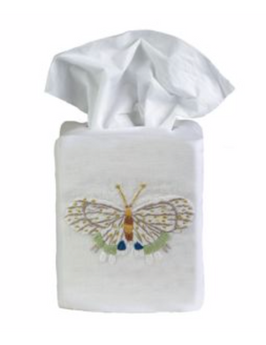 Fishers Butterfly Tissue Box Cover - Loro Lino Fine Linens