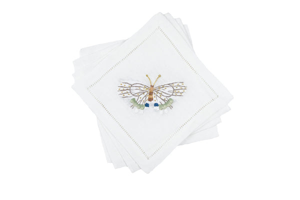 Fishers Butterfly Cocktail Napkin 6x6 (Set of 4) - Loro Lino