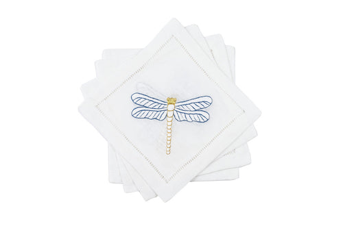 Hamptons Dragonfly Cocktail Napkins 6x6 (Set of 4) - Loro Lino