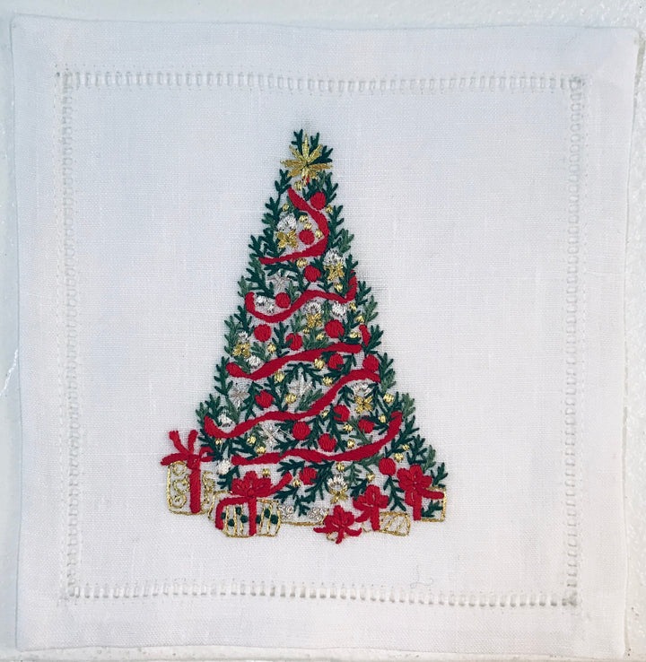 Christmas Tree w/Presents Cocktail 6x6 (Set of 4) - Loro Lino