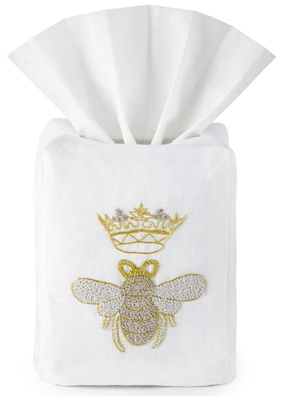 Queen Bee Tissue Box Cover Hand Embroidered - Loro Lino Fine Linens