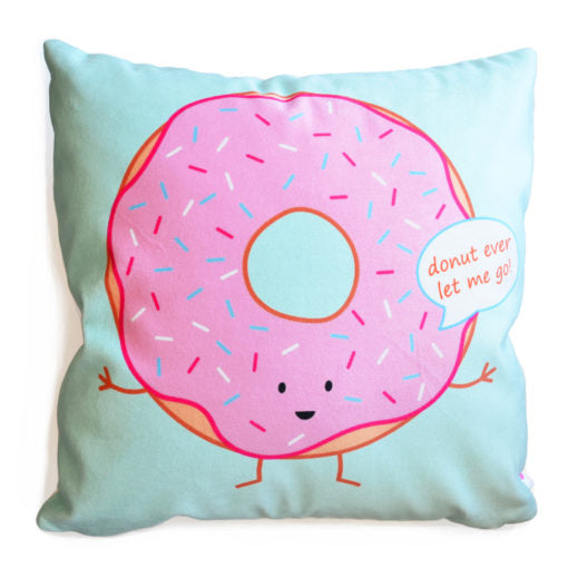 Queenie's Cards 'Donut Ever Let Me Go' Throw Pillow-Stationery-Pulp Function