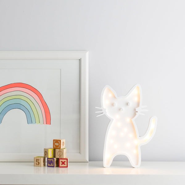 Basil the Cat Seated Marquee Natural White Light-Marquee Art-Pulp Function