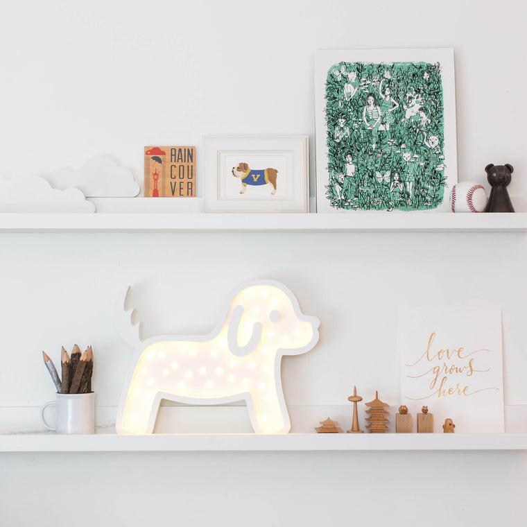 Waffle Dog Marquee Warm White Light, Non-Battery Operated White