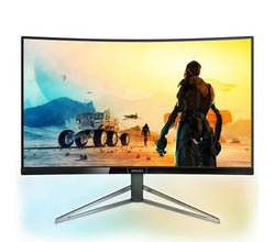 "Philips Monitor 32"" Curved QHD LCD 16:9, 328M6FJRMB, Input: DP/HDMI/VGA, Speakers, Ambiglow, HDR-10, 3 yr Wty -144Hz refresh rate, With FreeSync !"