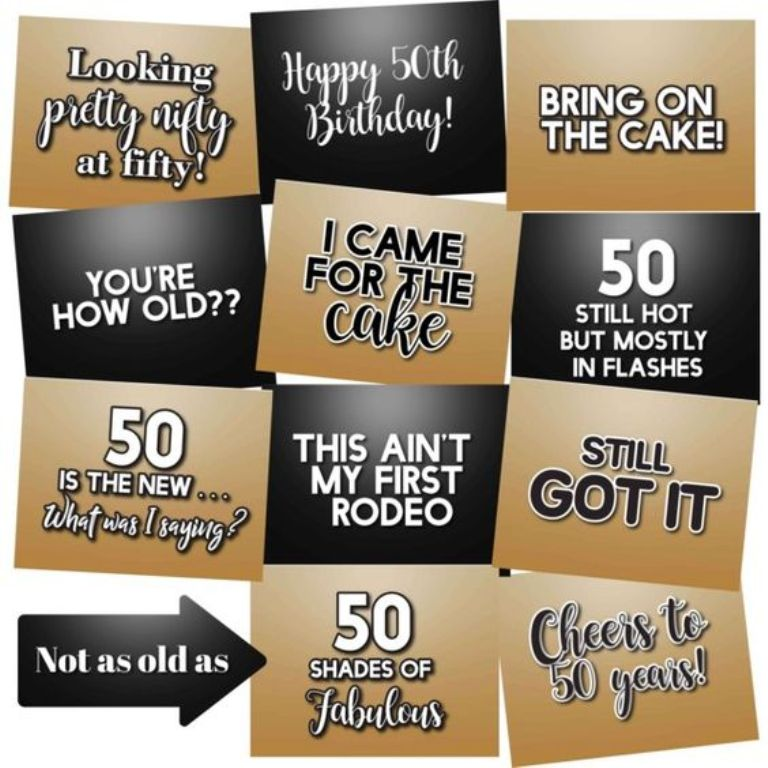 50th Birthday Photo Props
