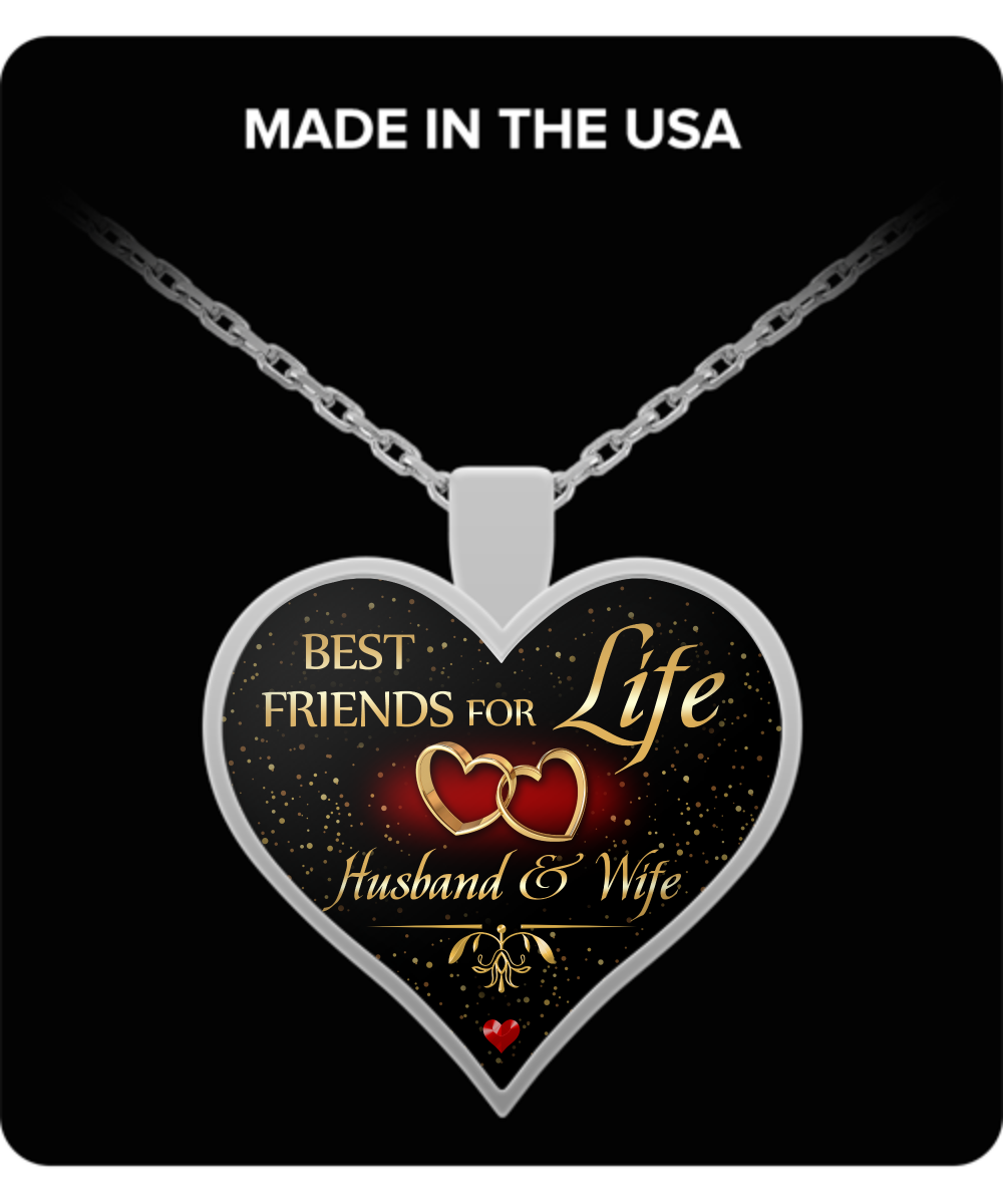 Heart Pendant Necklace Best Friends For Life Husband And Wife Gift