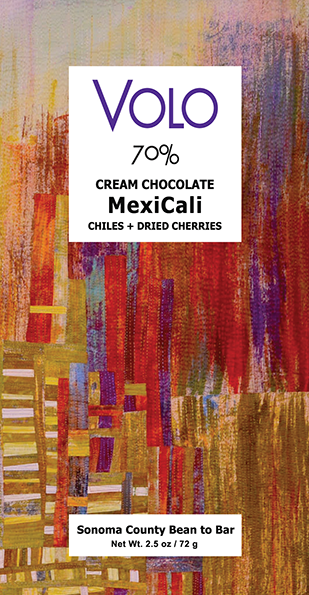 "70% DARK CREAM CHOCOLATE ""MexiCali"" <br /><span>chiles + dried cherries<br />2.5oz</span>"