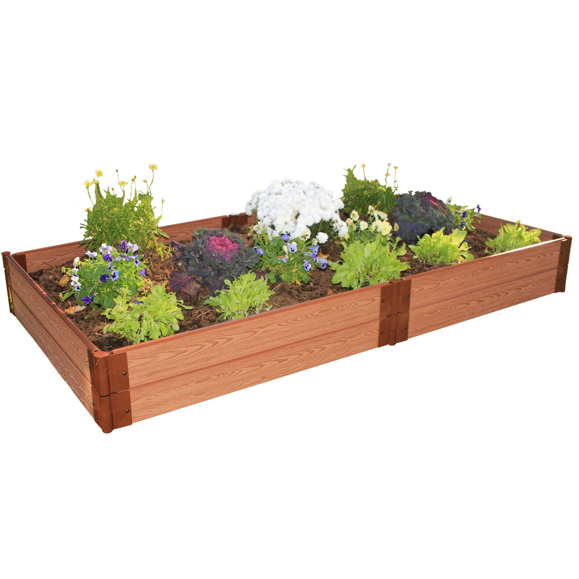 "Raised Garden Bed-Composite 4'X8' Rectangle 2 Level (1"" Profile) shown on white background filled with plants"