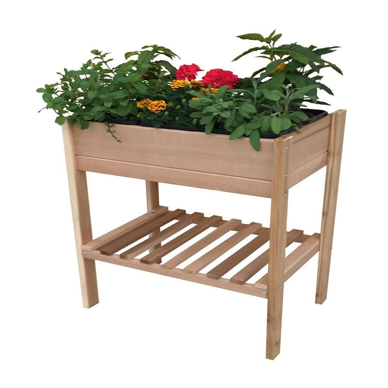 Elevated Garden Bed front view planted with flowers natural wood color