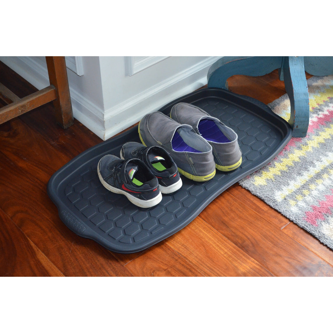boot Tray - shown on kitchen floor with shoes placed on it