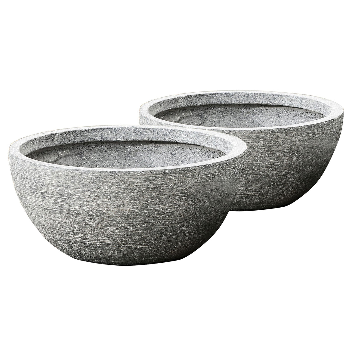 Round Bowl Garden Planters made of Fiberclay - 2 Bowls grey color