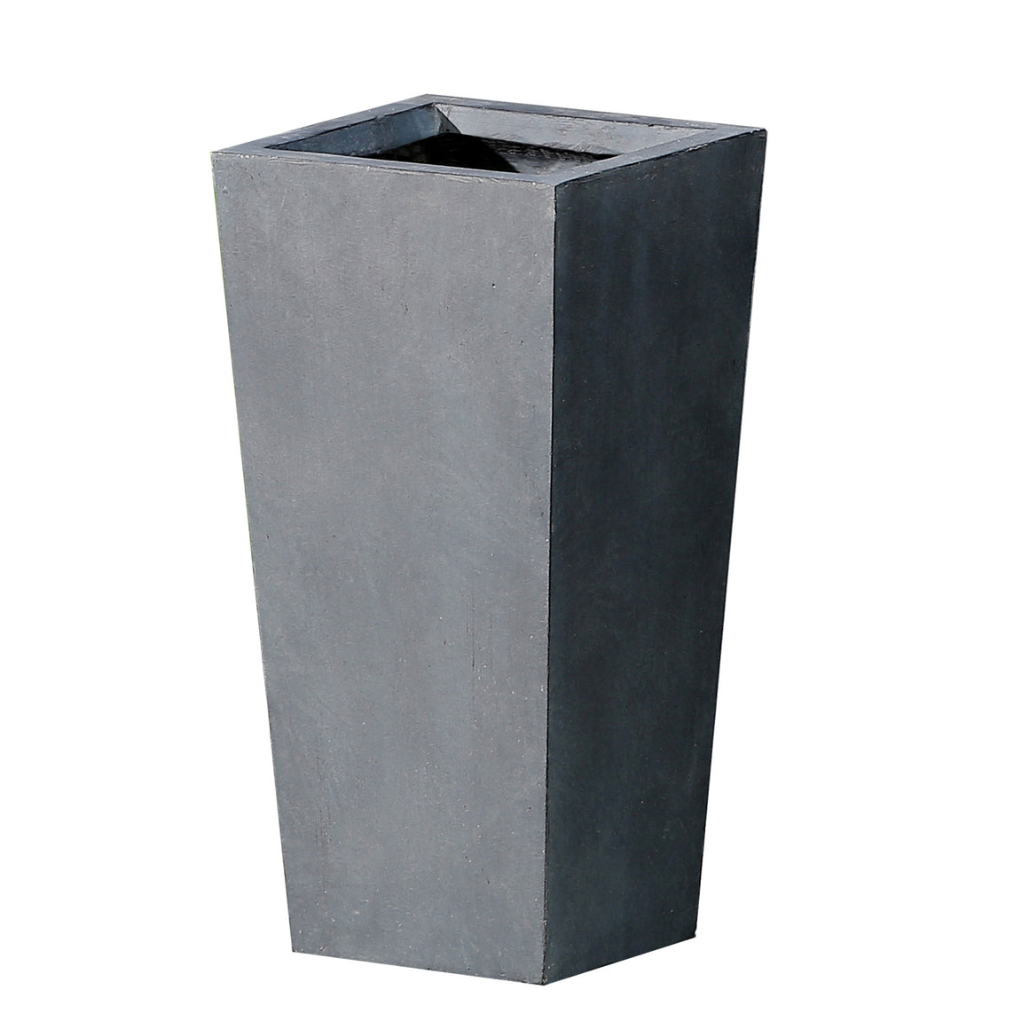 Garden Planter - Tapered Stone Finish Tall Planter (Medium) on white background planter is empty