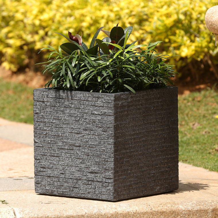Merveilleux Stone Finish Square Planter (Medium) Set On Patio Filled With Plants