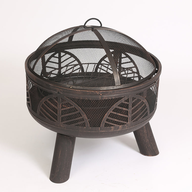 Fire Pit -  Bronze Finish 24in. Deep Bowl  shown against white background, empty with cover