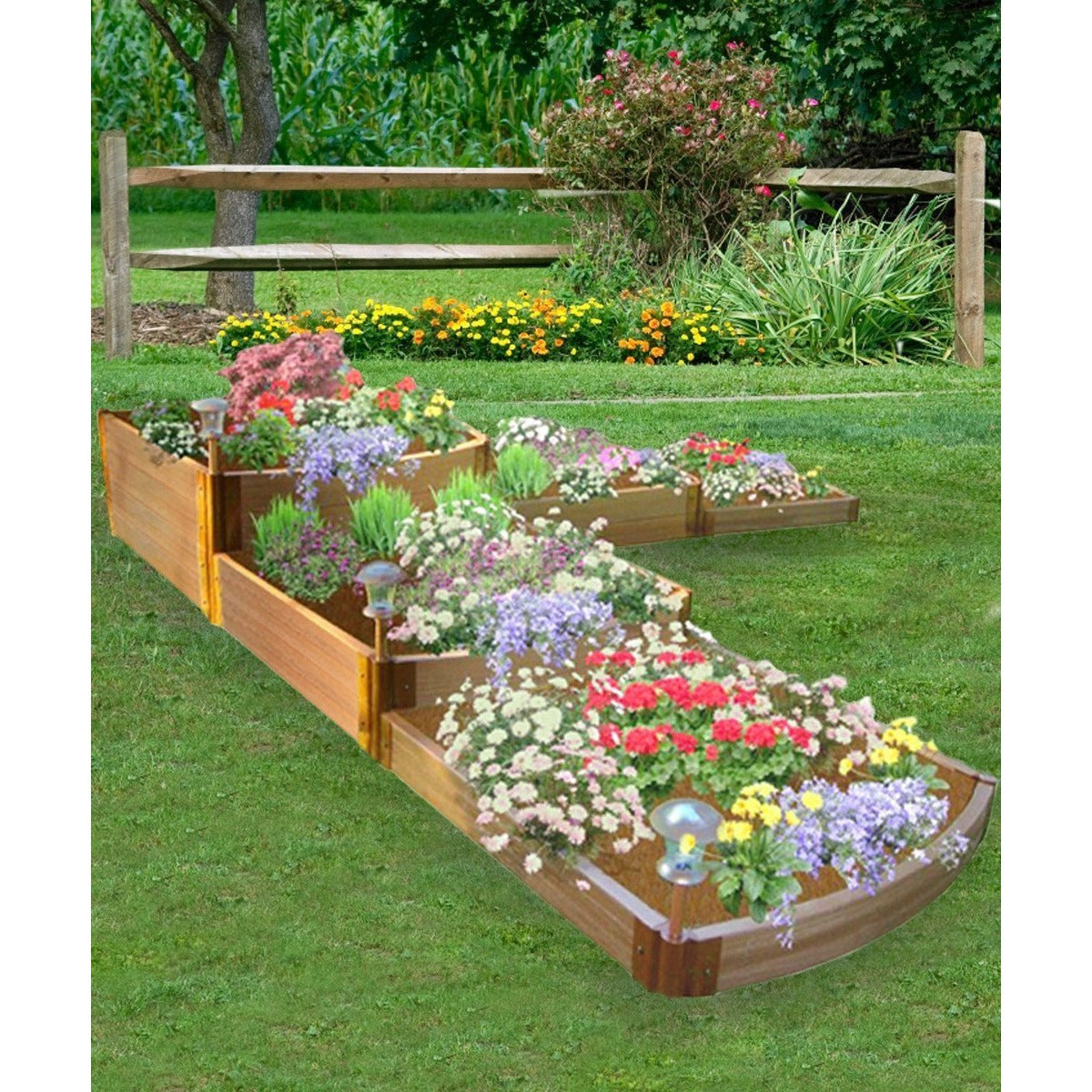 ... Raised Bed   Frame It All Composite 3 Tier Waterfall Shown In Backyard  Planted With Flowers ...