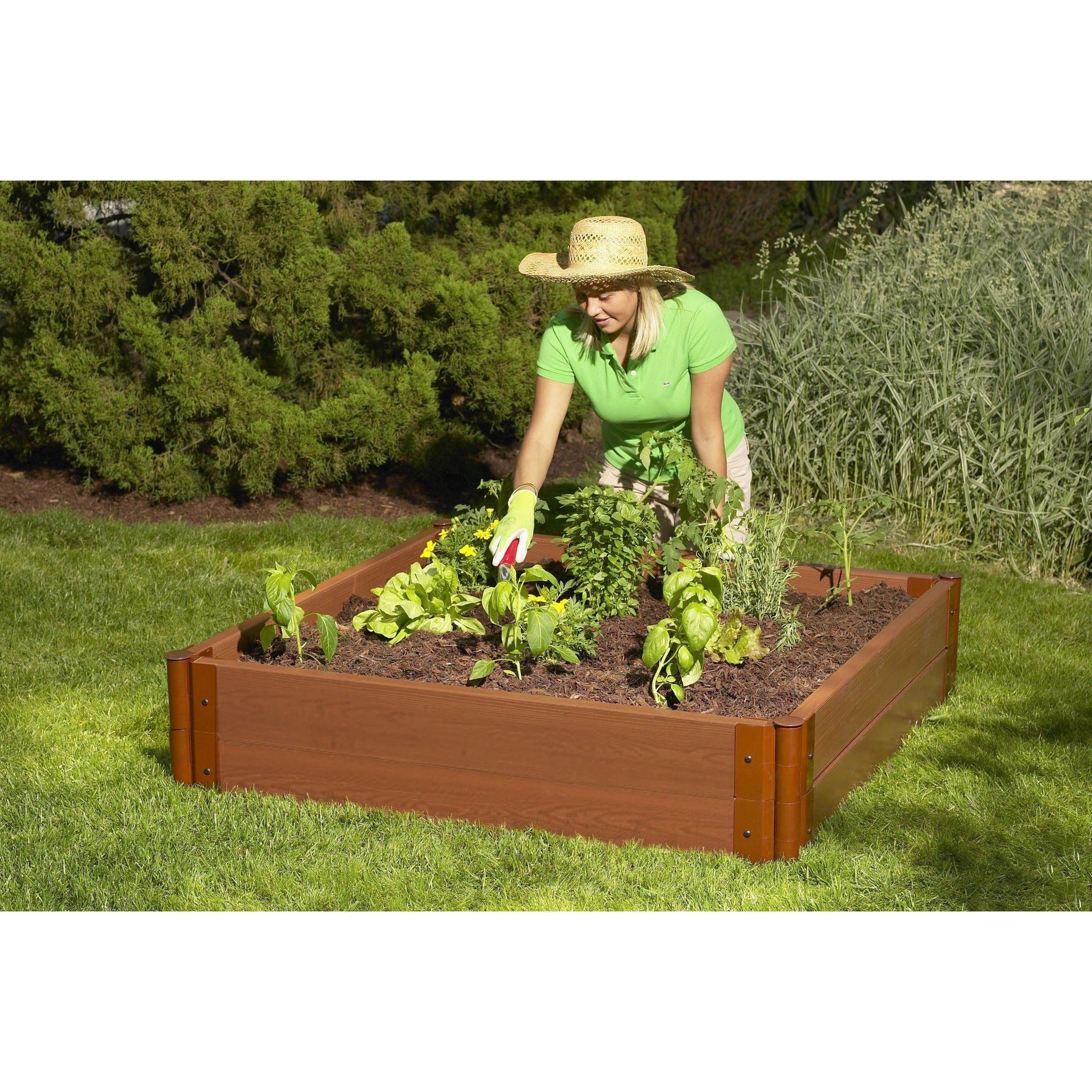 Exceptional Frame It All Composite Raised Garden Kit 4 X 4 Square 2 Inch Profile 2  Level ...