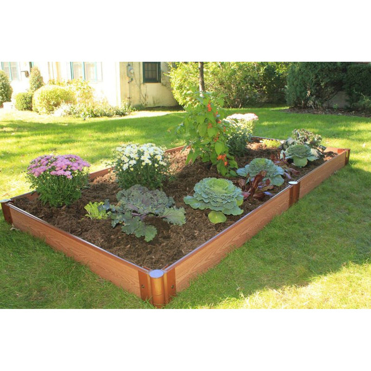 "Raised Garden Bed-Composite 4'X8' Rectangle (1"" Profile) 1 Levels shown on lawn planted with flowers"