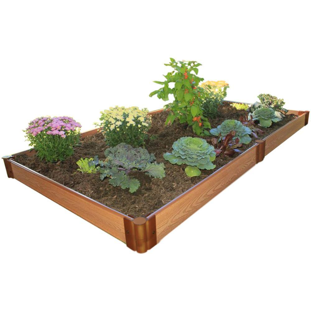 "Raised Garden Bed-Composite 4'X8' Rectangle  1 level (1"" Profile) shown on white background filled with plants"