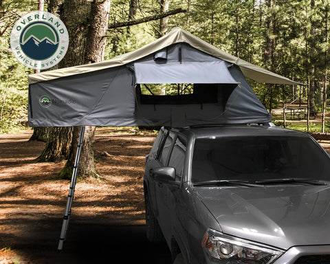 Roof Top Tent 2 Person Extended Roof Top Tent Dark Gray Base With Green Rain Fly With Bonus Pack Nomadic Overland Vehicle Systems
