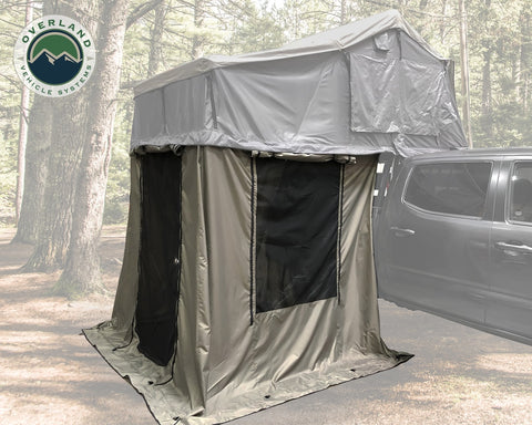 Roof Top Tent 3 Annex 86x76X82 Inch Green Base Black Floor and Travel Cover Nomadic Overland Vehicle Systems