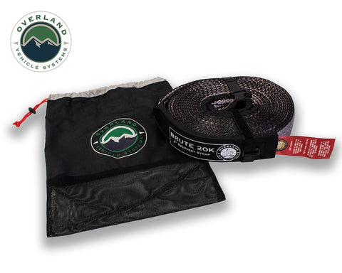 Tow Strap 20,000 lb 2 Inch x 30 Foot Gray With Black Ends & Storage Bag Overland Vehicle Systems