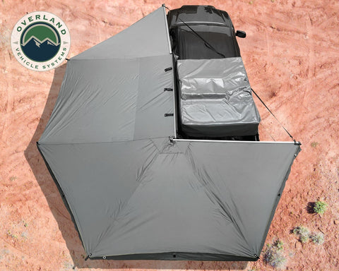 Awning Tent 270 Degree Driver Side Dark Gray Cover With Black Cover Nomadic Overland Vehicle Systems