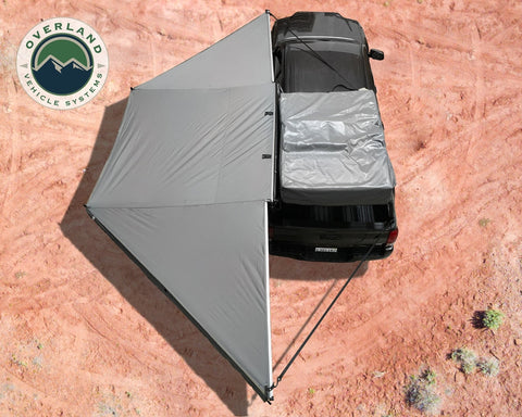 Awning Tent 270 Degree Passenger Side Dark Gray Cover With Black Cover Nomadic Overland Vehicle Systems