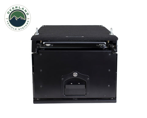 Cargo Box With Slide Out Drawer & Working Station Size Black Powder Coat Universal Overland Vehicle Systems