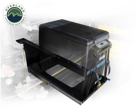 Refrigerator Tray With Slide and Tilt Small Overland Vehicle Systems