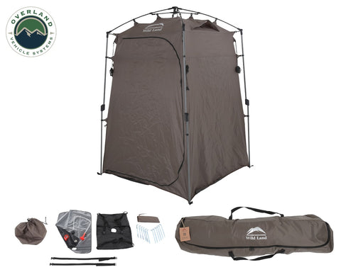 Portable Shower and Privacy Room Retractable Floor, Amenity Pouches 5x7 Foot Quick Set Up Overland Vehicle Systems