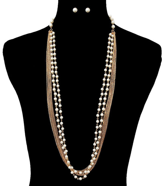 Pearl 'n Chain Necklace Set
