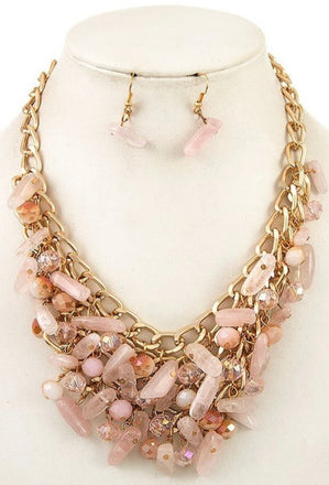 Coral Cluster Necklace Set