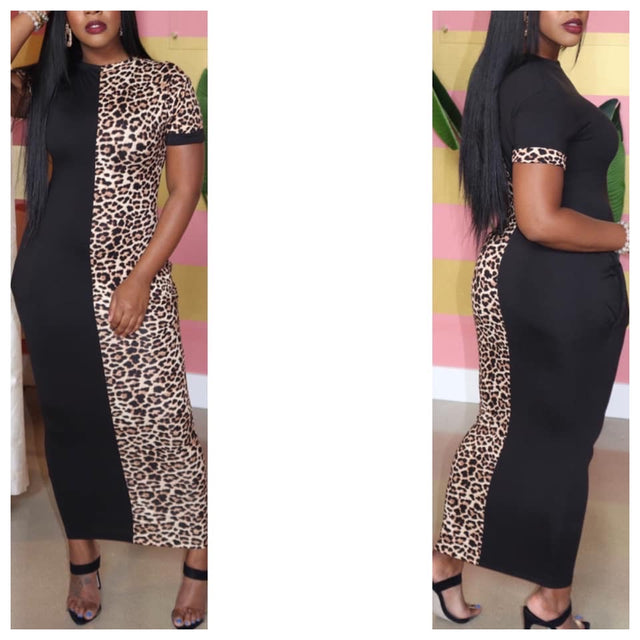 Leopard Stripe Maxi Dress