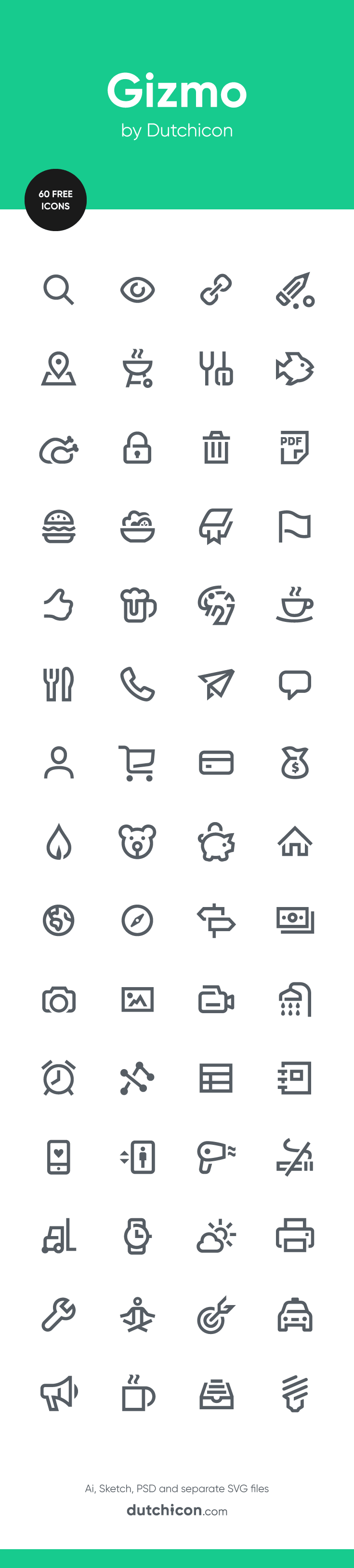 60 FREE icons in Gizmo style available at Dutchicon.com. Direct download: https://dutchicon-store.myshopify.com/cart/30859840402:1?channel=buy_button