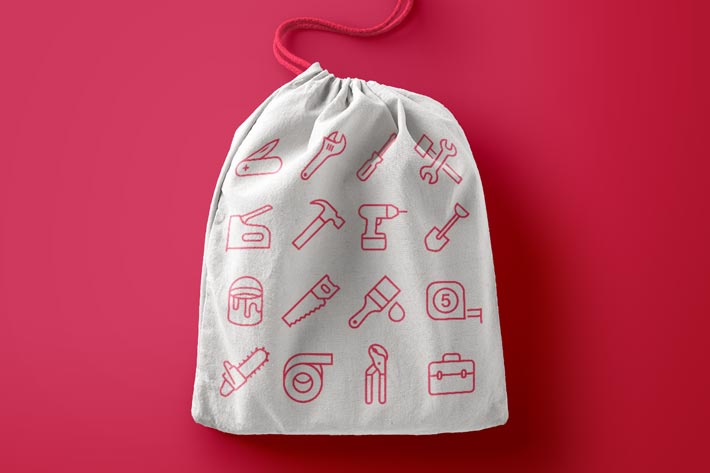 Tool Icons by #Dutchicon on a Tote Bag. #icondesign