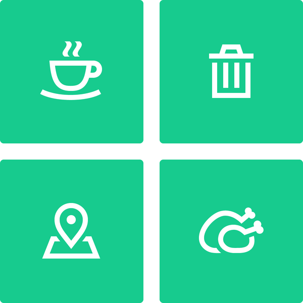 Gizmo icon set - Coffee Cup icon, Trash icon, Map Location icon and Turkey icon by #Dutchicon. #icondesign