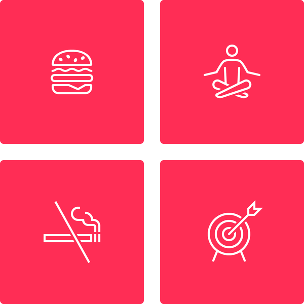 iOS Wired icon set - Hamburger icon, Yoga icon, No-Smoking icon and Target icon by #dutchicon. #icondesign