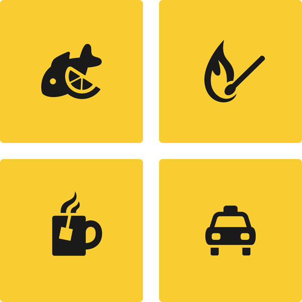 Seafood icon, Match icon, Tea icon and Taxi icon in Raw style by #dutchicon. #icondesign