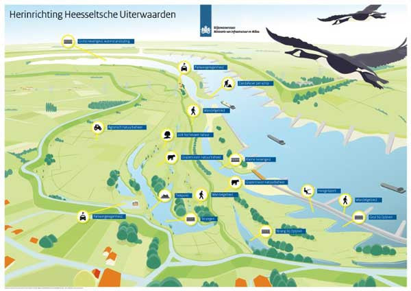 Infographic Herinrichting Heesseltsche Uiterwaarden (Restructure Heesselt Floodplains). Icons by #Dutchicon for the Dutch Government. #icondesign www.dutchicon.com