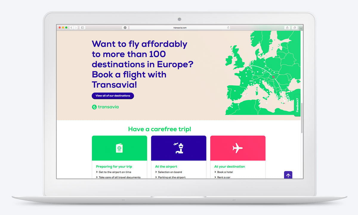 Book a flight at the #Transavia website on desktop. Custom icons by #Dutchicon. #icondesign www.dutchicon.com