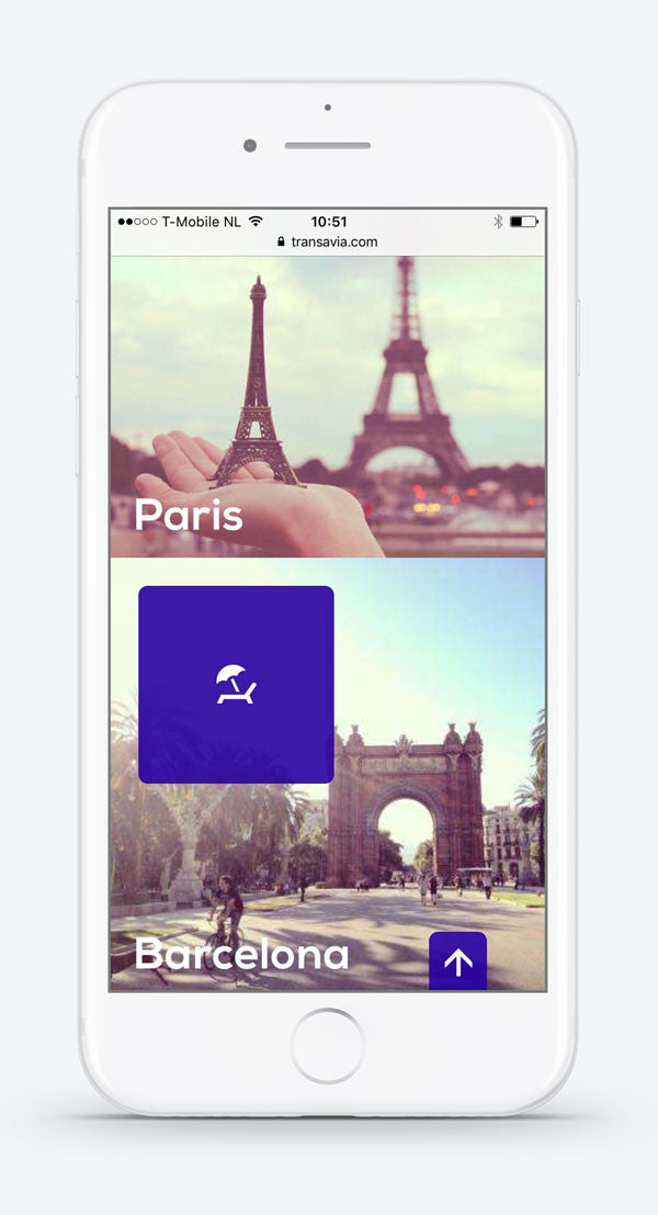 Travel to Paris or Barcelona with #Transavia on mobile. Custom icons by #Dutchicon. #icondesign www.dutchicon.com
