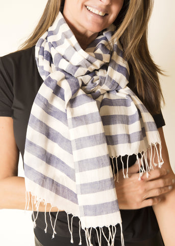 hand blocked silk scarf on model