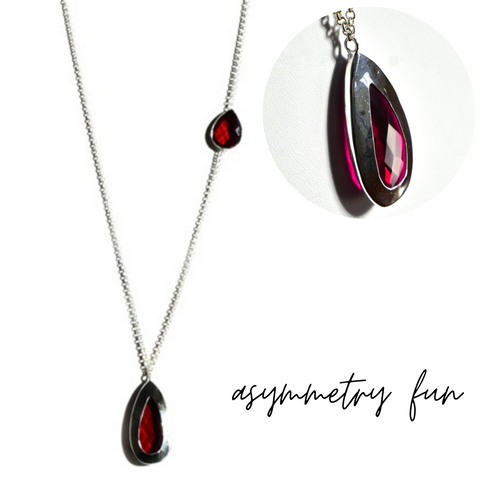 asymmetrical rubylite necklace pendants