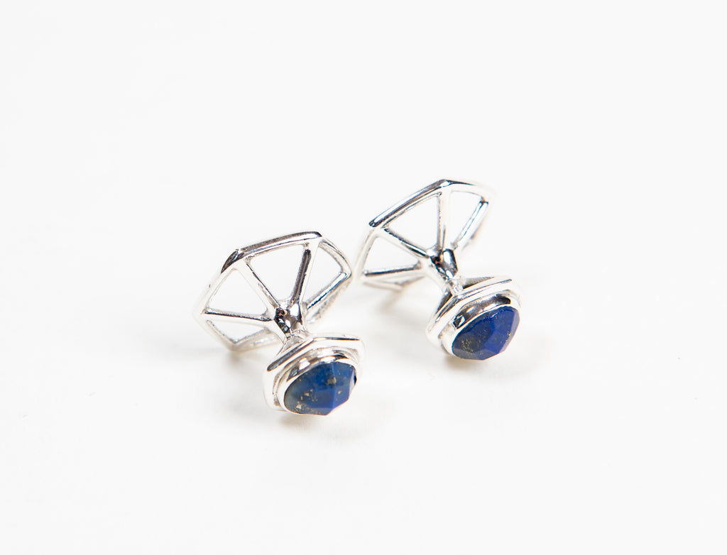 new ethically made sterling silver men's cufflinks with lapis stone settings and hexagonal backing